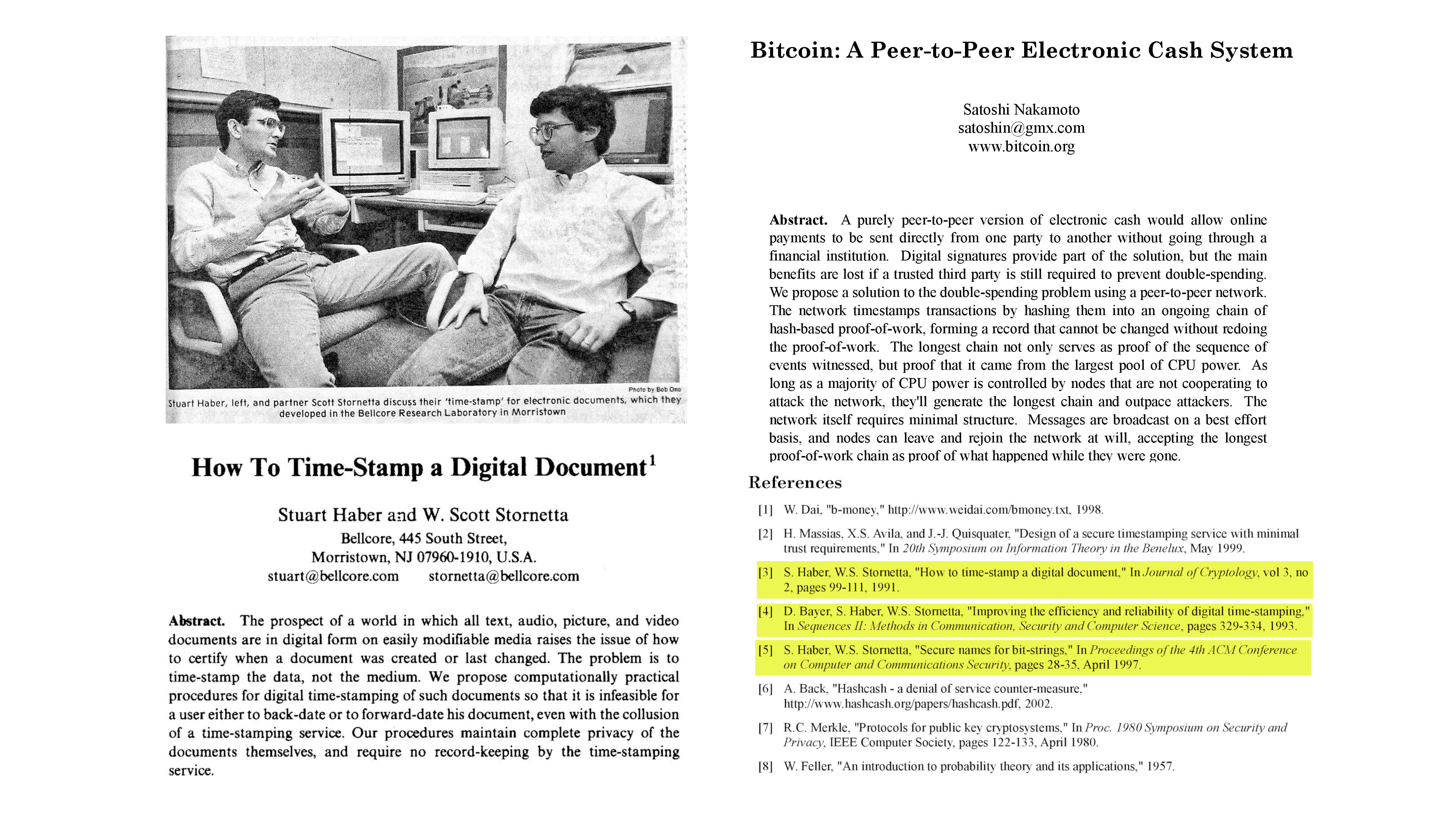 Composite image showing bitcoin paper, time stamping paper, and image of Scott Stornetta and Stuart Haber